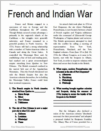 French and Indian War Worksheet Best Of the French and Indian War Free Printable American History