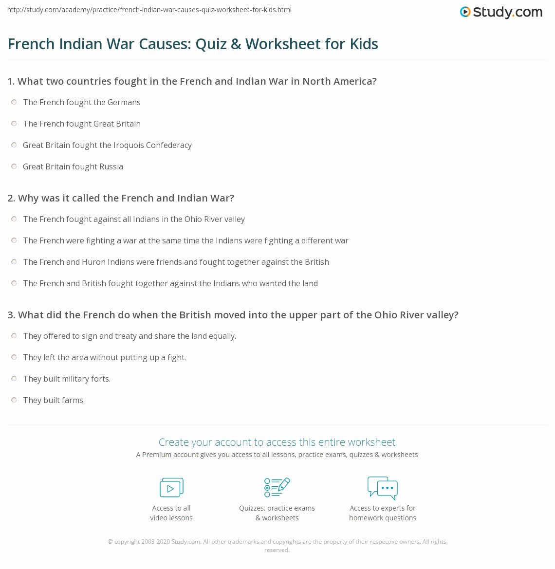 French and Indian War Worksheet Free French Indian War Causes Quiz & Worksheet for Kids