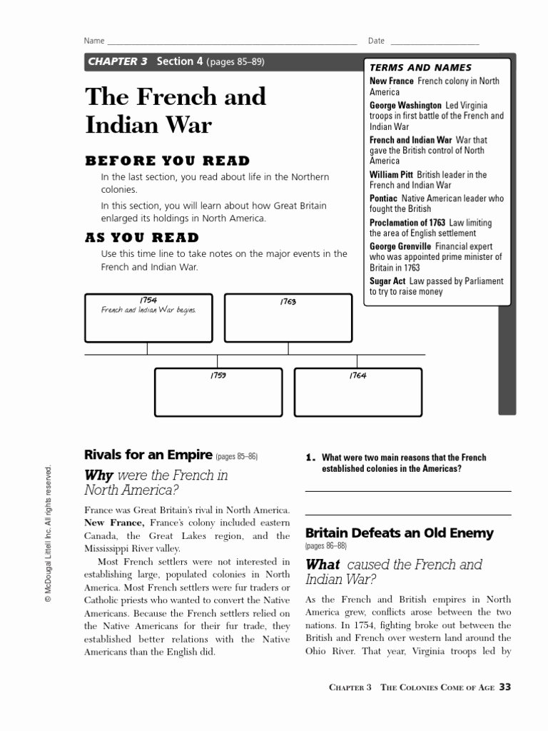 French and Indian War Worksheet Fresh the French and Indian War 1 French and Indian War