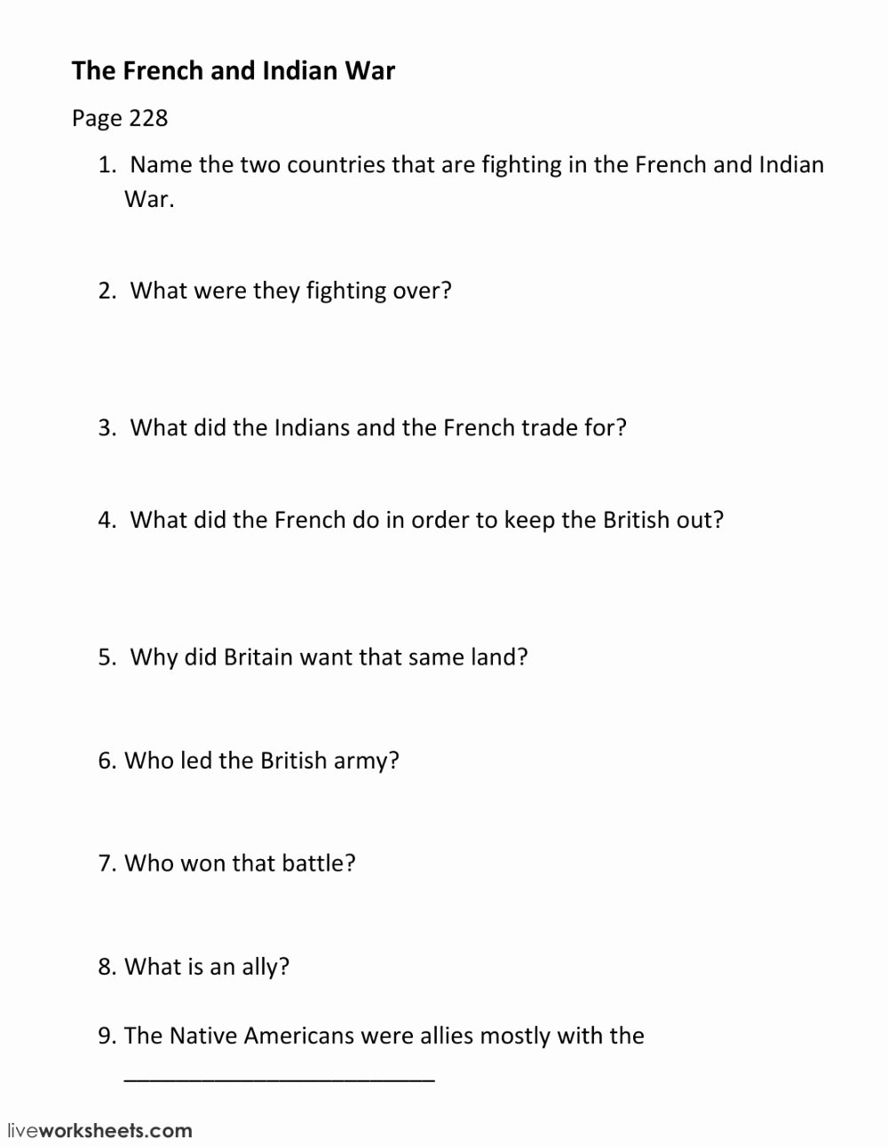 French and Indian War Worksheet Inspirational French and Indian War Worksheet