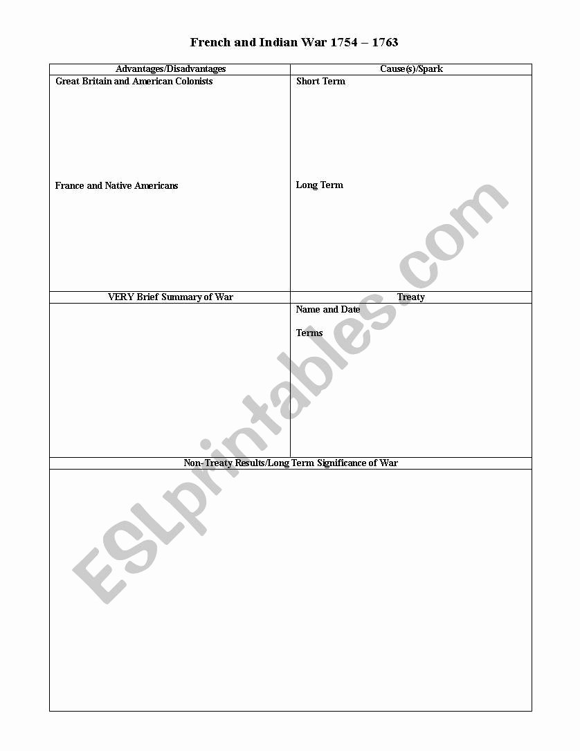 French and Indian War Worksheet Lovely English Worksheets French & Indian War Chart