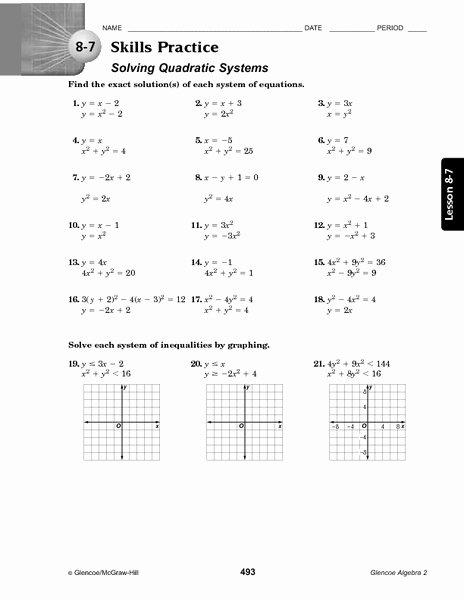 From Linear to Quadratic Worksheet Fresh 9 8 Systems Linear and Quadratic Equations Worksheet