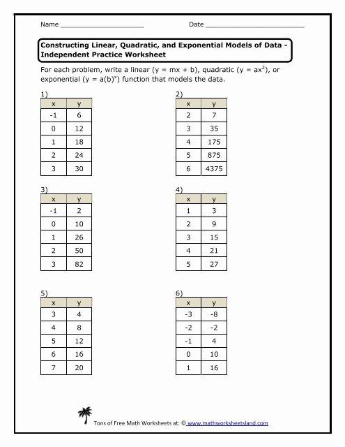From Linear to Quadratic Worksheet Lovely Practice Worksheet Math Worksheets Land