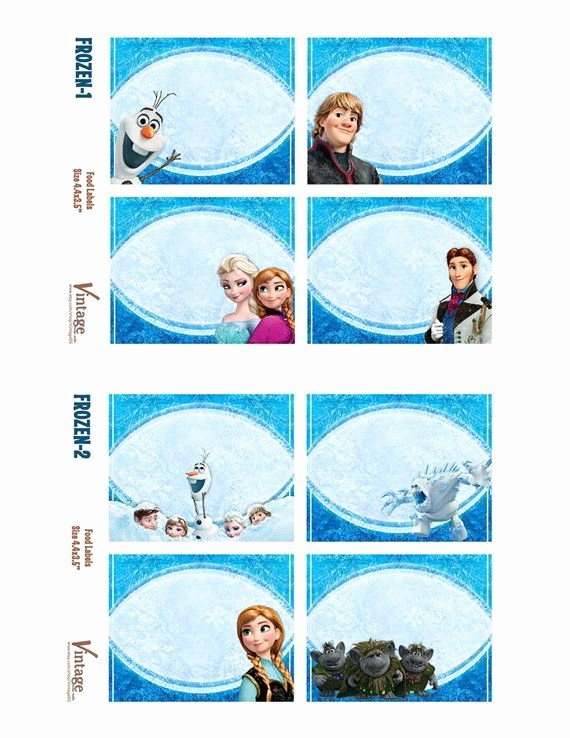 Frozen Free Printable Food Labels New Frozen Food Labels Party Printables Free In 2020