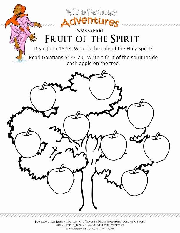 Fruits Of the Spirit Worksheet Free Kids Bible Worksheets Loran Holy Spirit for Fruits the
