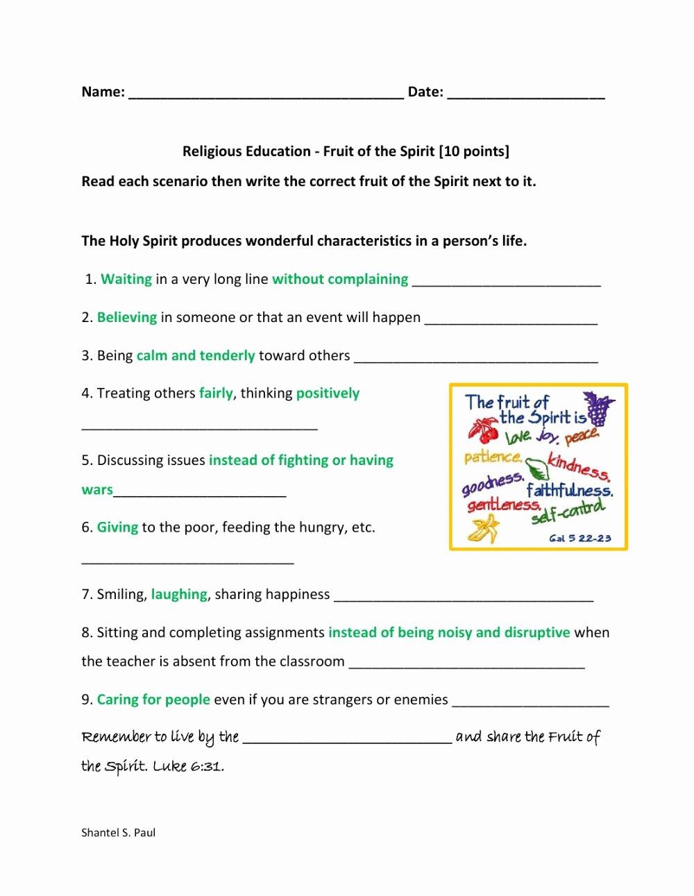 Fruits Of the Spirit Worksheet Ideas Fruit Of the Spirit Interactive Worksheet