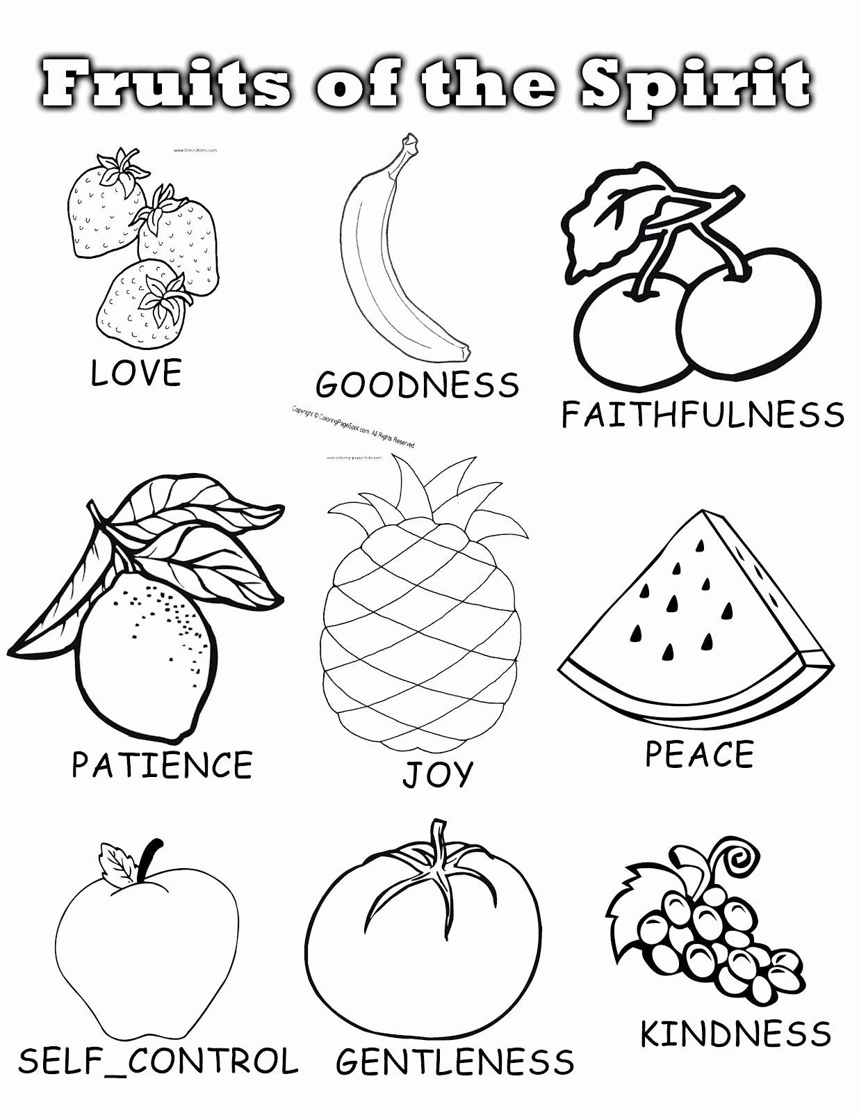 Fruits Of the Spirit Worksheet Inspirational Fruits the Spirit Sunday School Unit Coloring Fruit