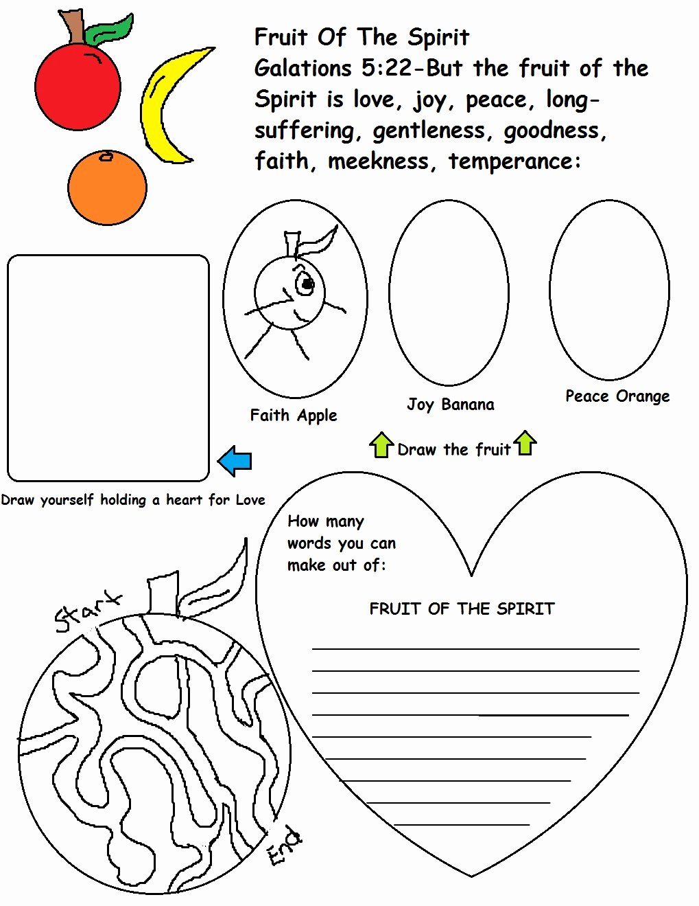 Fruits Of the Spirit Worksheet Kids Fruit Of the Spirit Sunday School Lesson