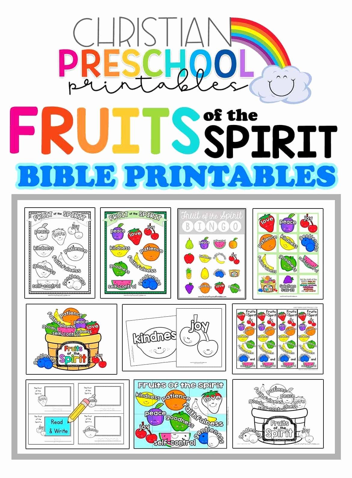 Fruits Of the Spirit Worksheet New Fruit Of the Spirit Printables Christian Preschool Printables