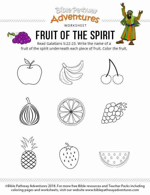 Fruits Of the Spirit Worksheets Fresh Fruits the Spirit Worksheet Elegant Fruit the Spirit