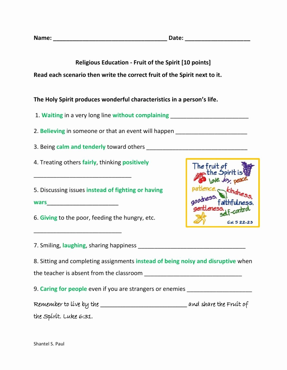 Fruits Of the Spirit Worksheets Kids Fruit Of the Spirit Interactive Worksheet