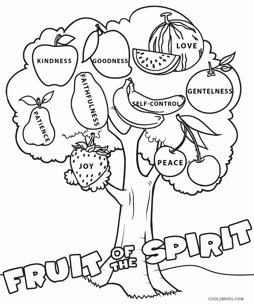 Fruits Of the Spirit Worksheets Lovely Kjv Fruit the Spirit Coloring Pages Sheet Kids Cross