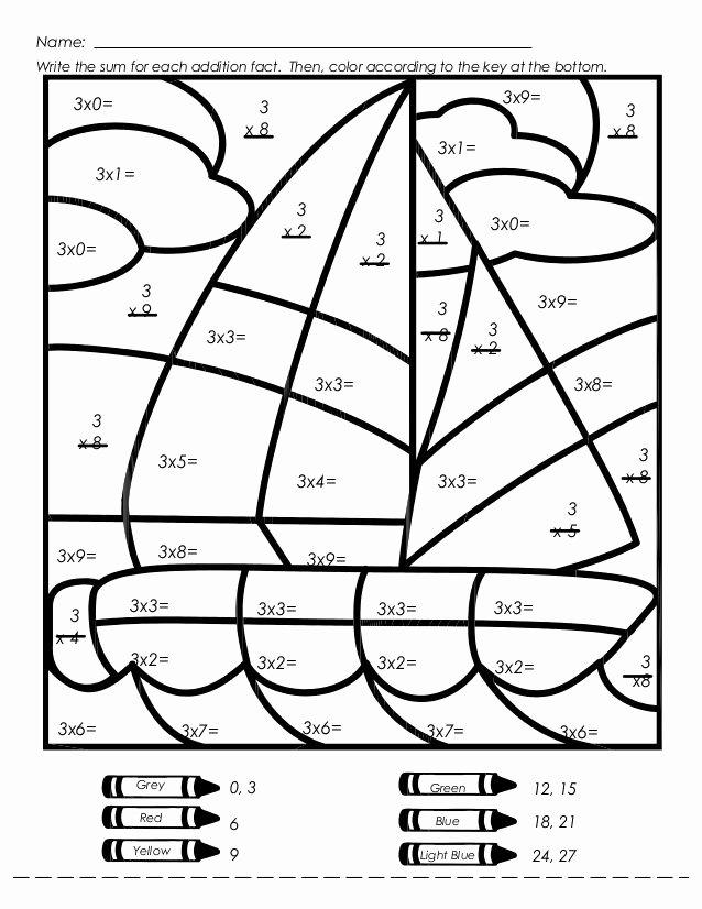 Fun Multiplication Worksheets Grade 3 Ideas Sailboat Multiplication Color by Number Worksheet