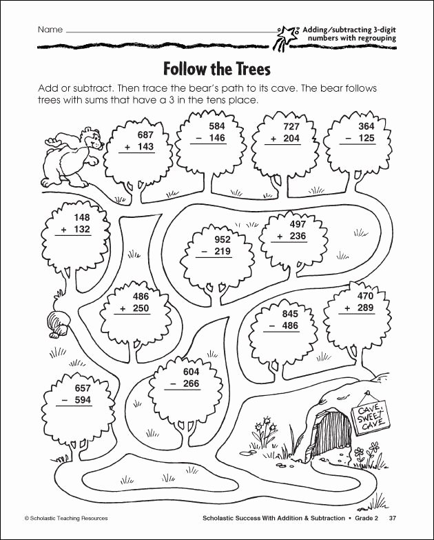 Fun Subtraction with Regrouping Worksheets Best Of 3 Digit Subtraction with Regrouping Coloring Sheet
