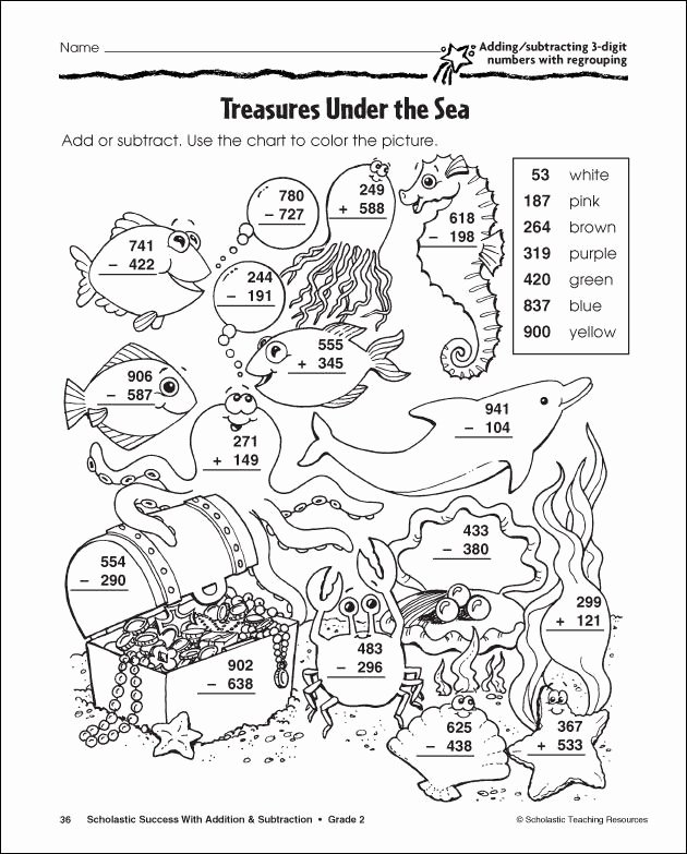 Fun Subtraction with Regrouping Worksheets Inspirational Subtraction with Regrouping Coloring Pages