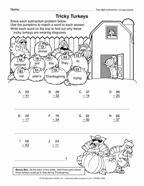 Fun Subtraction with Regrouping Worksheets Lovely Thanksgiving Worksheet 2 Digit Subtraction No Regrouping