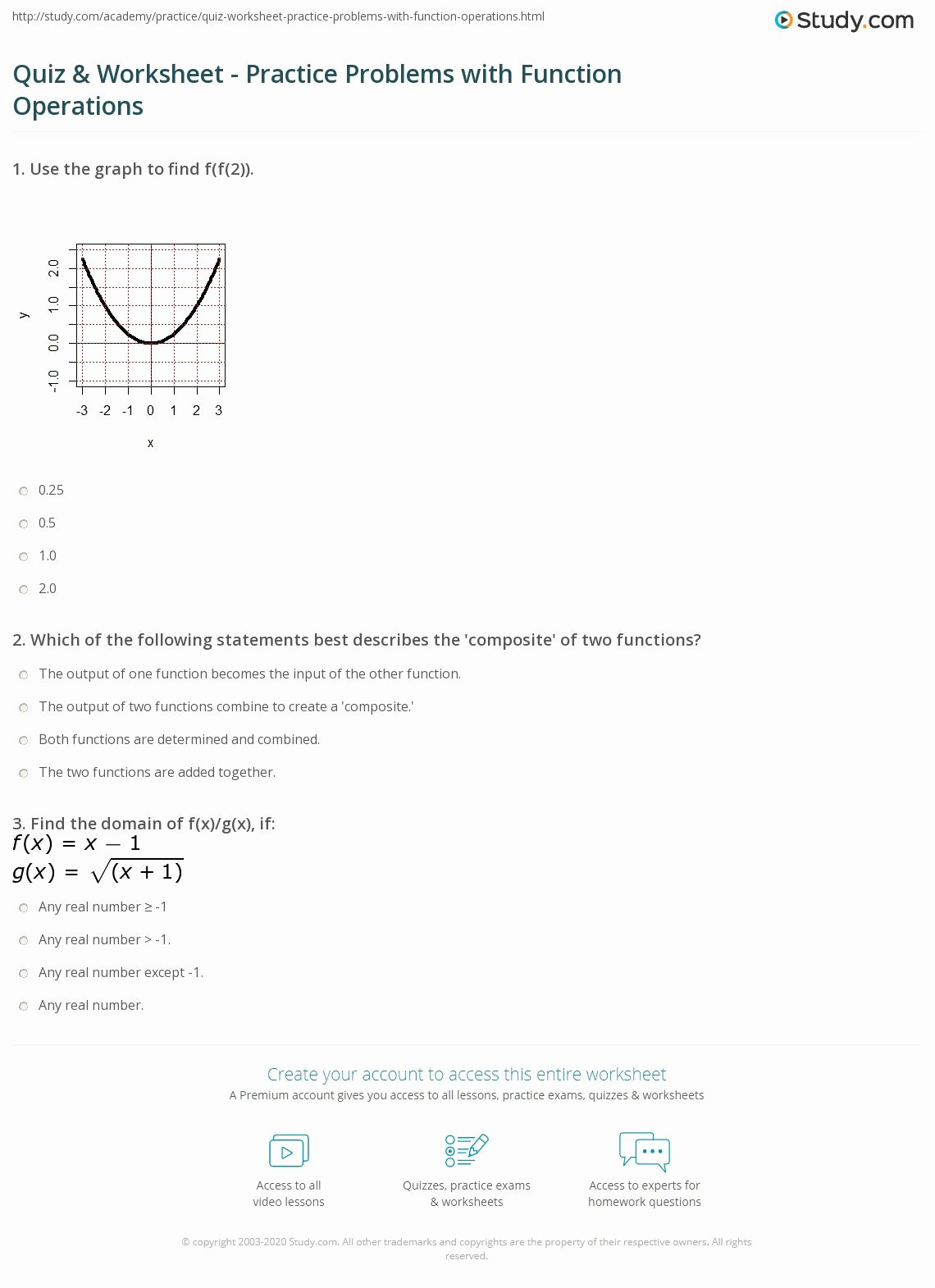 Function Operations and Composition Worksheet Free Quiz & Worksheet Practice Problems with Function