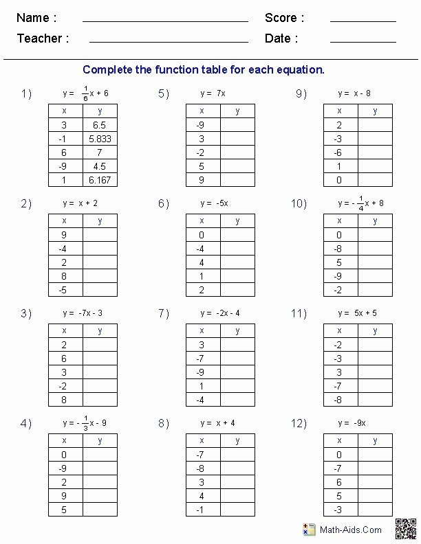 Function Table Worksheet Answer Key Free Plete the Function Table for Each Equation Math Aids
