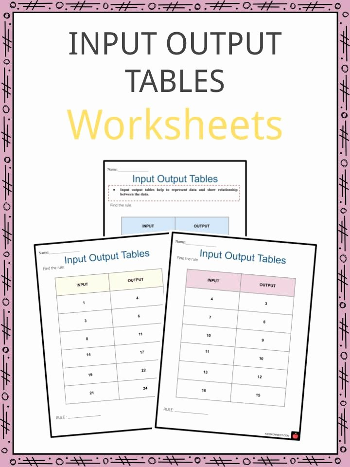 Function Table Worksheet Answer Key Lovely Input Output Tables Worksheets