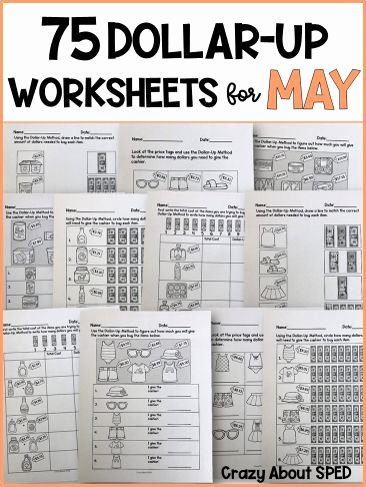 Functional Math Worksheets Special Education Ideas Dollar Up Bundle May Life Skills Money Math for Special