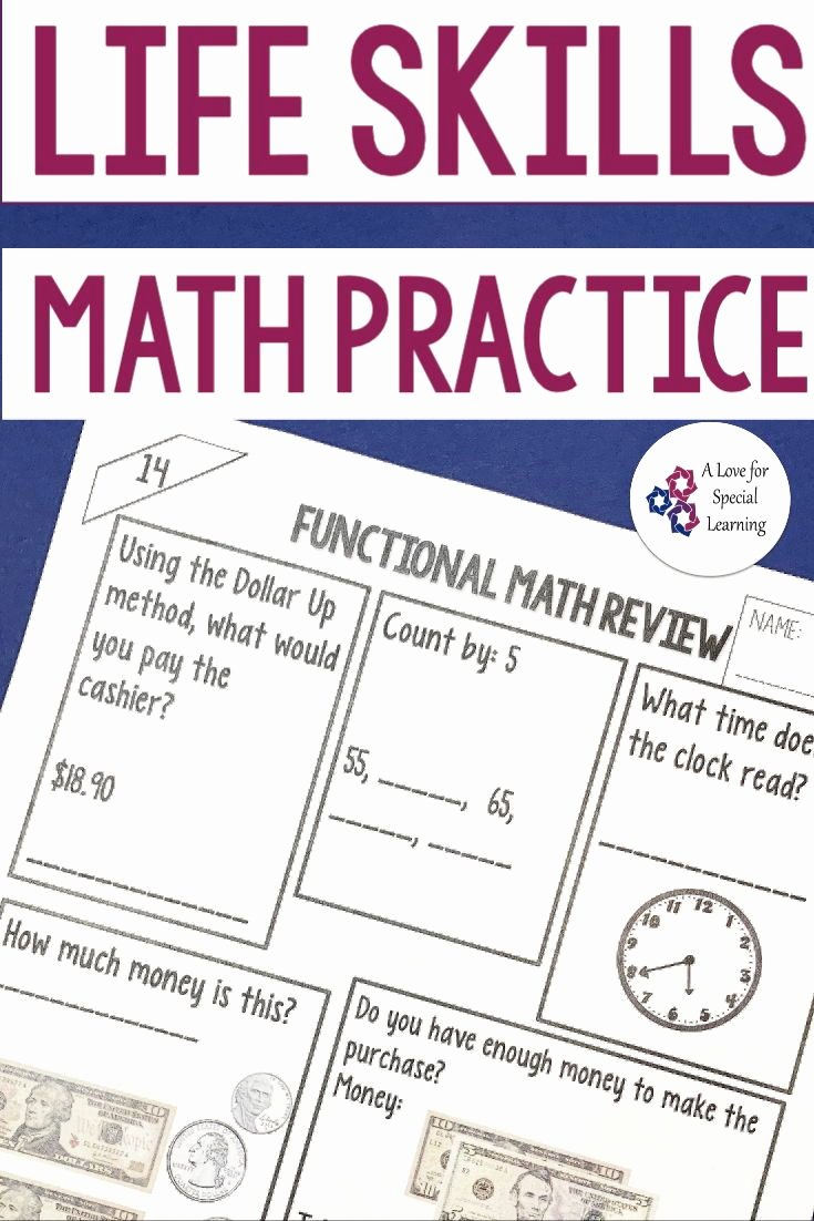 Functional Math Worksheets Special Education Kids Functional Math Worksheet Life Skills Money Math Telling