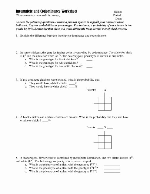 Genotypes and Phenotypes Worksheet Answers Ideas In Plete and Codominance Worksheet