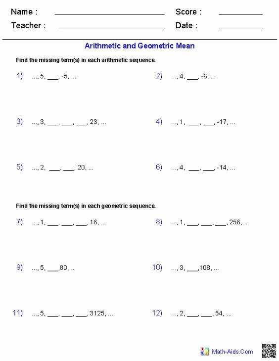 Geometric and Arithmetic Sequence Worksheet Kids Algebra 2 Worksheets