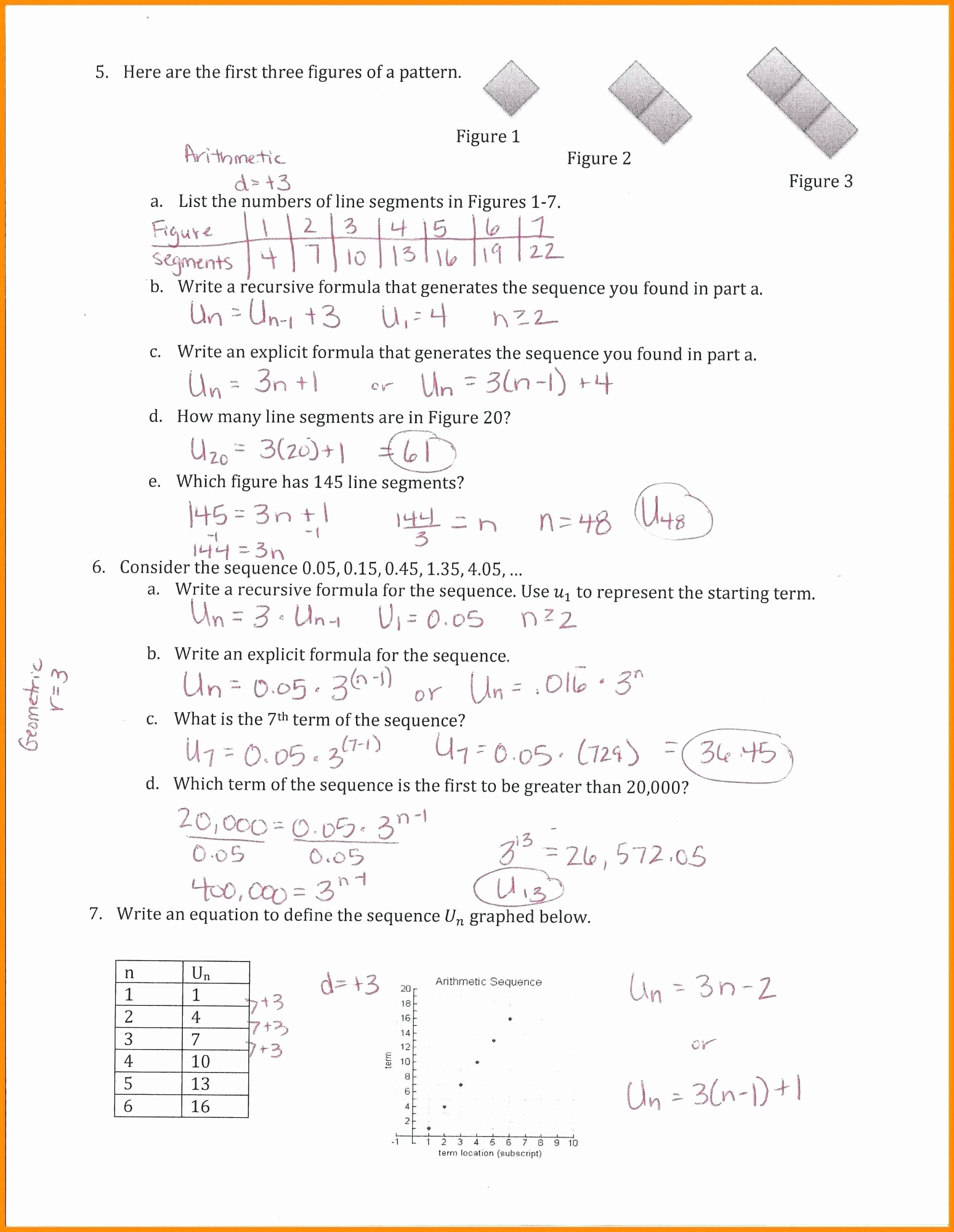 Geometric and Arithmetic Sequence Worksheet Kids Arithmetic Sequence Worksheet Answers Geometric and