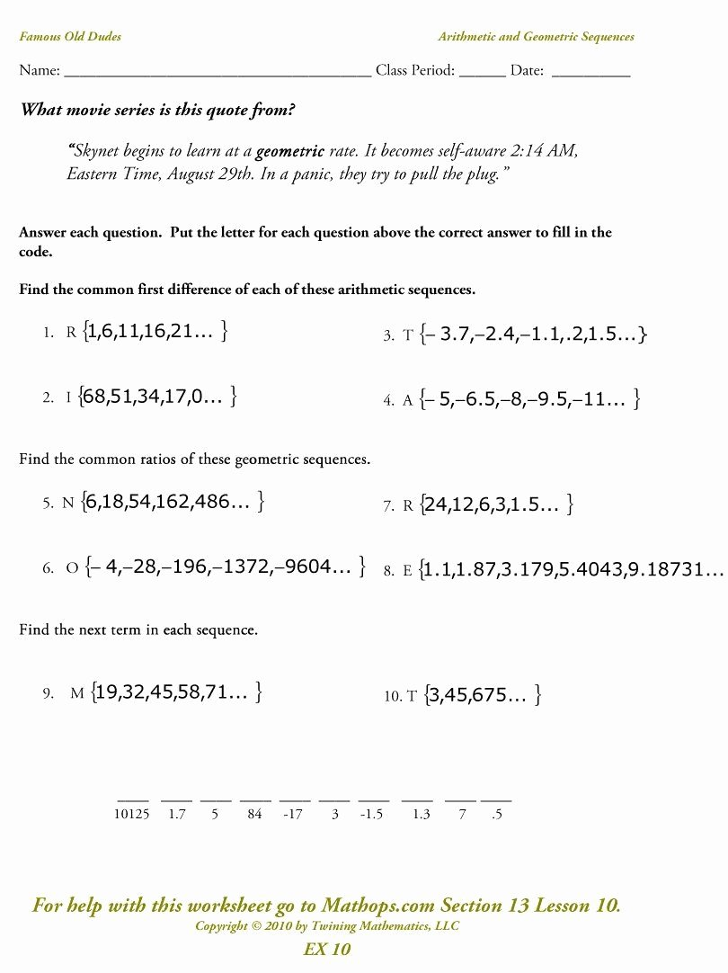 Geometric and Arithmetic Sequence Worksheet New Arithmetic and Geometric Sequences Worksheet Luxury Ex 10