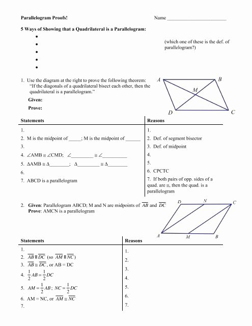 Geometric Proofs Worksheet with Answers Free Parallelogram Proofs Worksheet with Answers