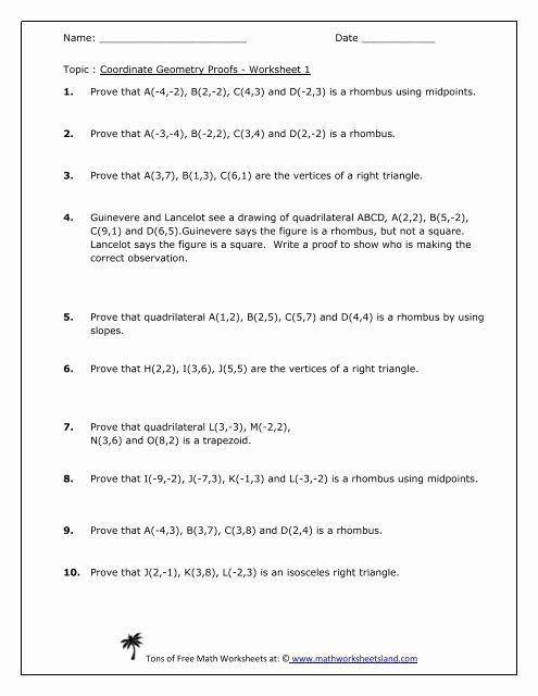 Geometric Proofs Worksheet with Answers Lovely Coordinate Geometry Proofs Worksheet Five Pack Math