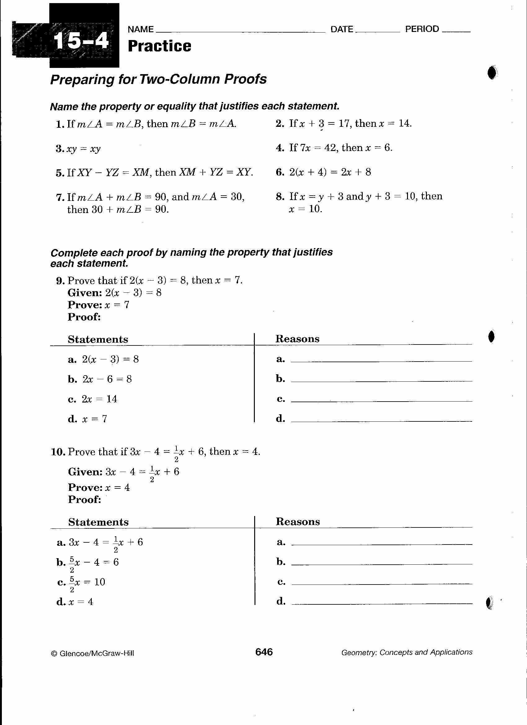 Geometric Proofs Worksheet with Answers top Geometric Proofs Worksheet with Answers Best Geometric