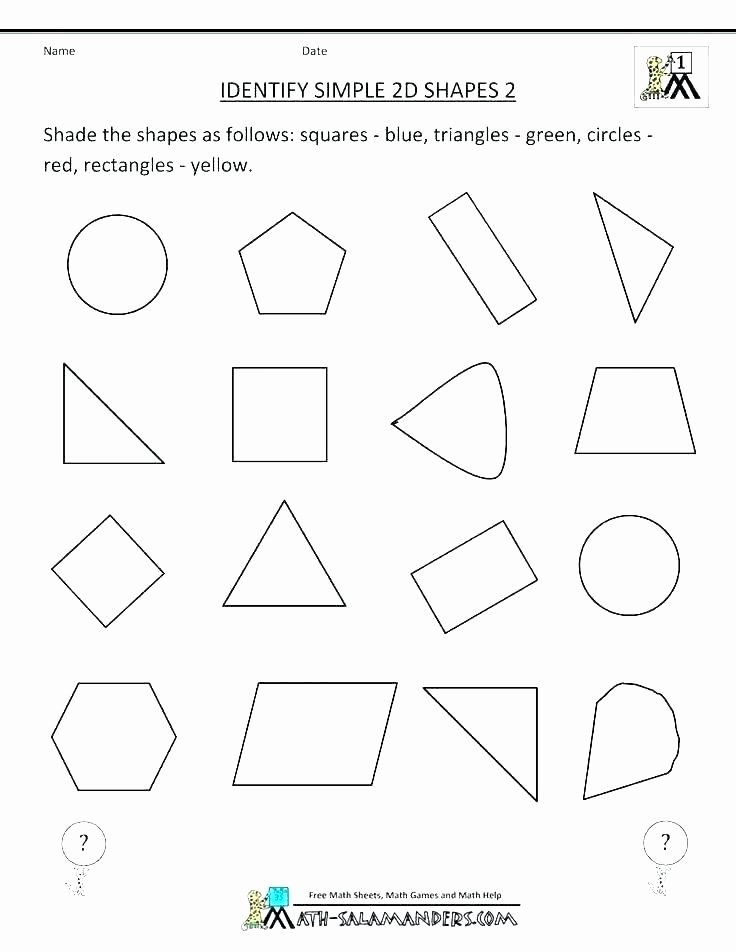 Geometric Shapes Worksheets 2nd Grade Ideas Geometric Shapes Worksheet 2nd Grade First Grade Shape