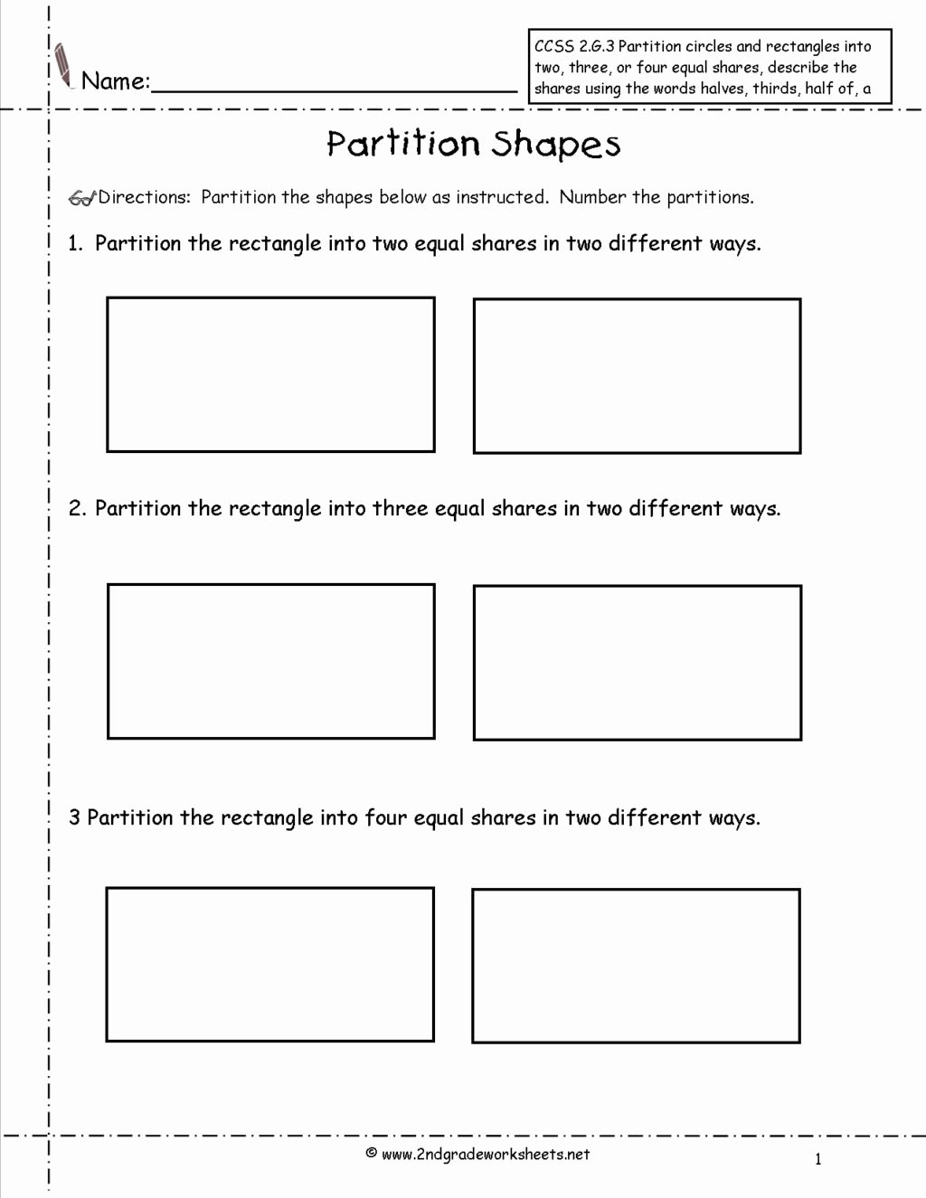 Geometric Shapes Worksheets 2nd Grade Ideas Worksheet 2nd Grade Geometry Worksheets Ccss G Partition
