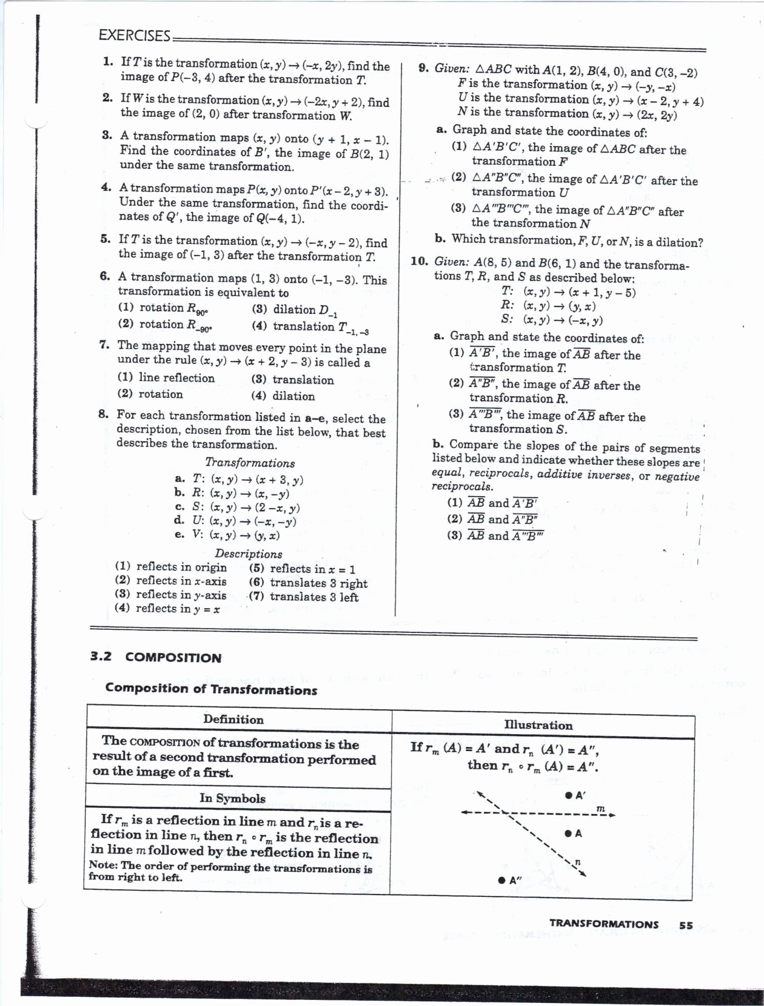 Geometry Transformation Composition Worksheet Answers New Transformations Algebra 2 Worksheet Transforming
