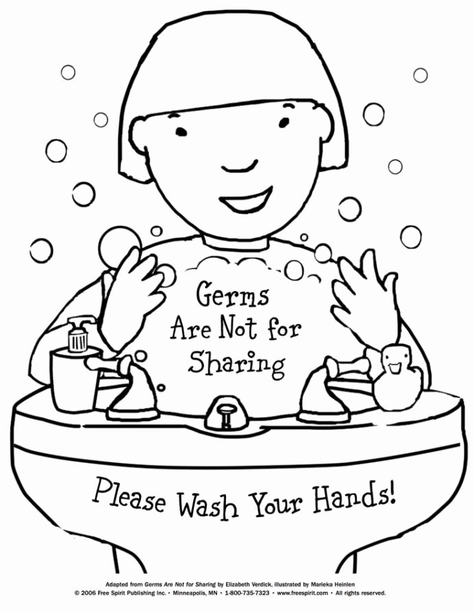 Germ Worksheets for First Grade Fresh Free Printable Coloring to Teach Kids About Hygiene Germs
