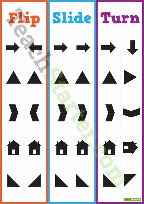 Glide Reflection Math is Fun Fresh Flip Slide Turn Poster