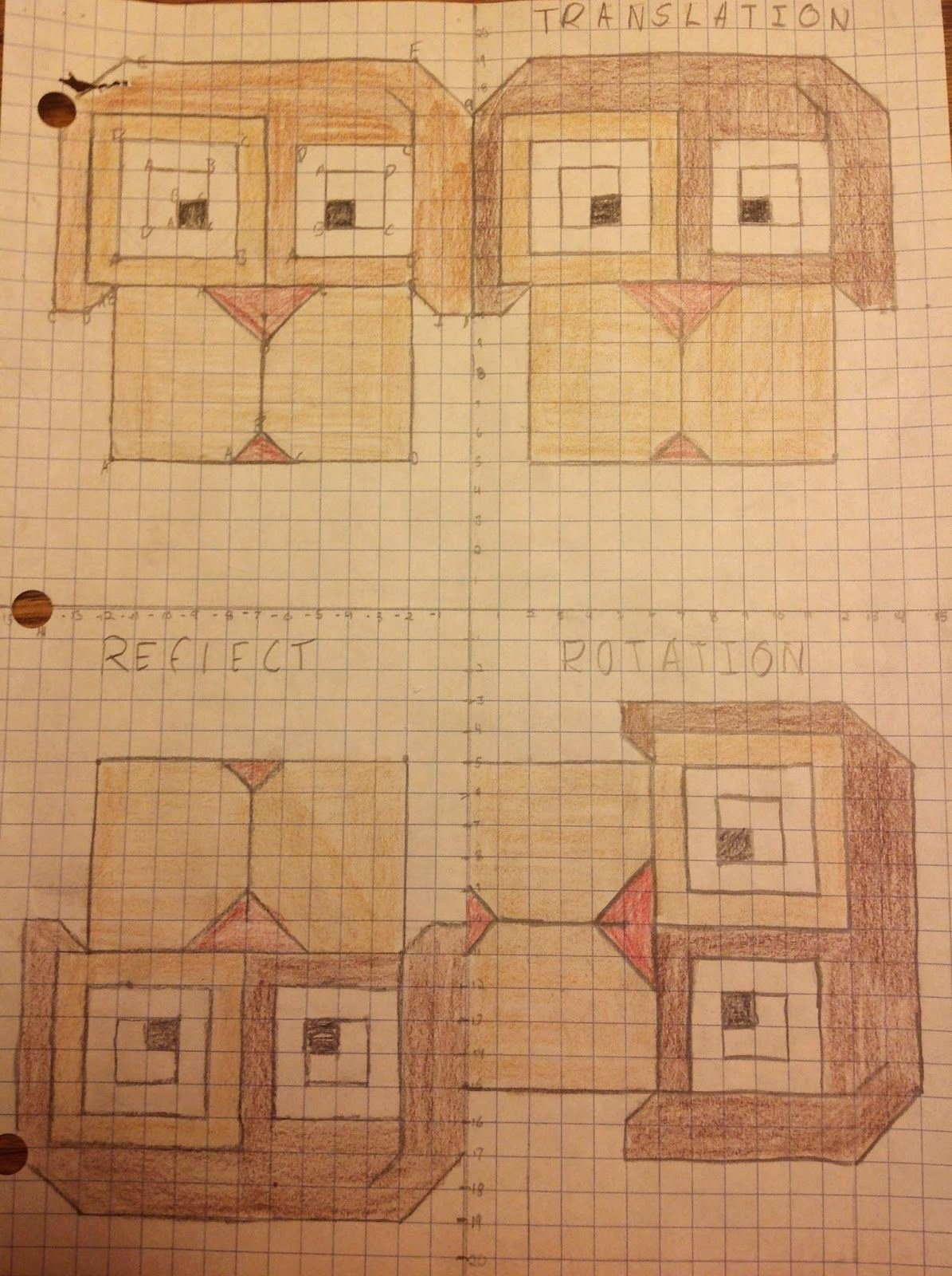 Glide Reflection Math is Fun Kids Transformations Summative assessment Project Equation Freak