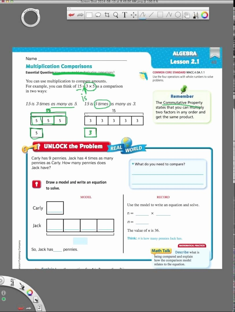 Go Math Grade 4 Worksheets New Go Math 2 1 Multiplication Parisons