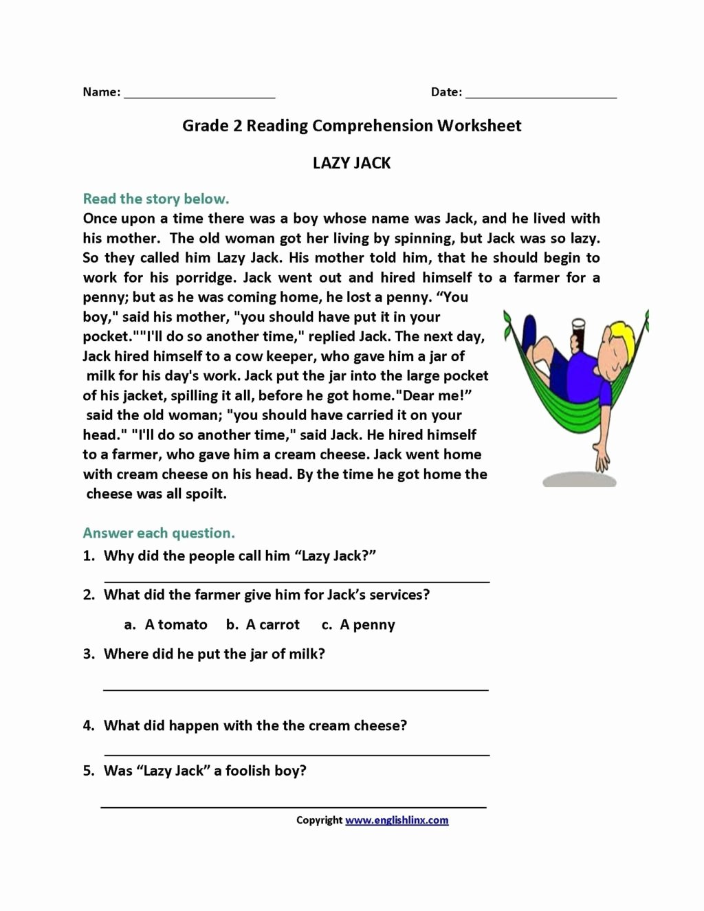 Grade 2 Reading Comprehension Worksheets Inspirational Worksheet Reading Prehension Worksheets for 2ndade as