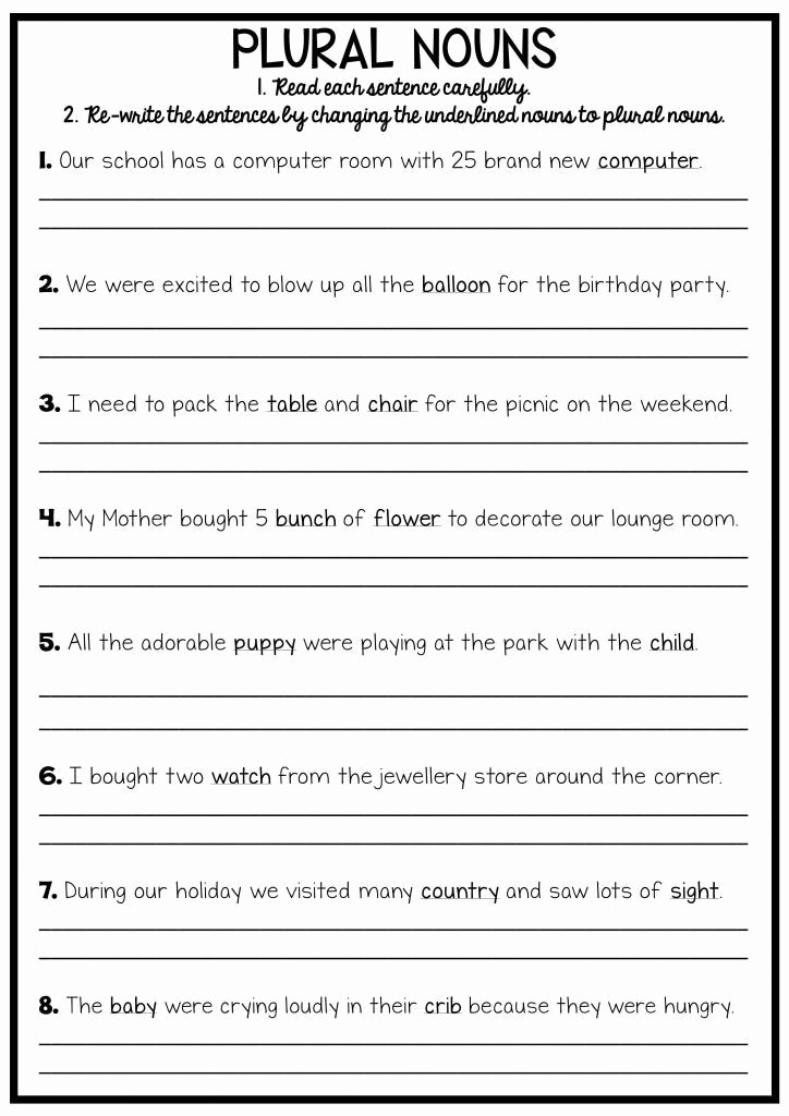 Grammar Worksheets for 3rd Grade top 3rd Grade Writing Worksheets Best Coloring Pages for Kids