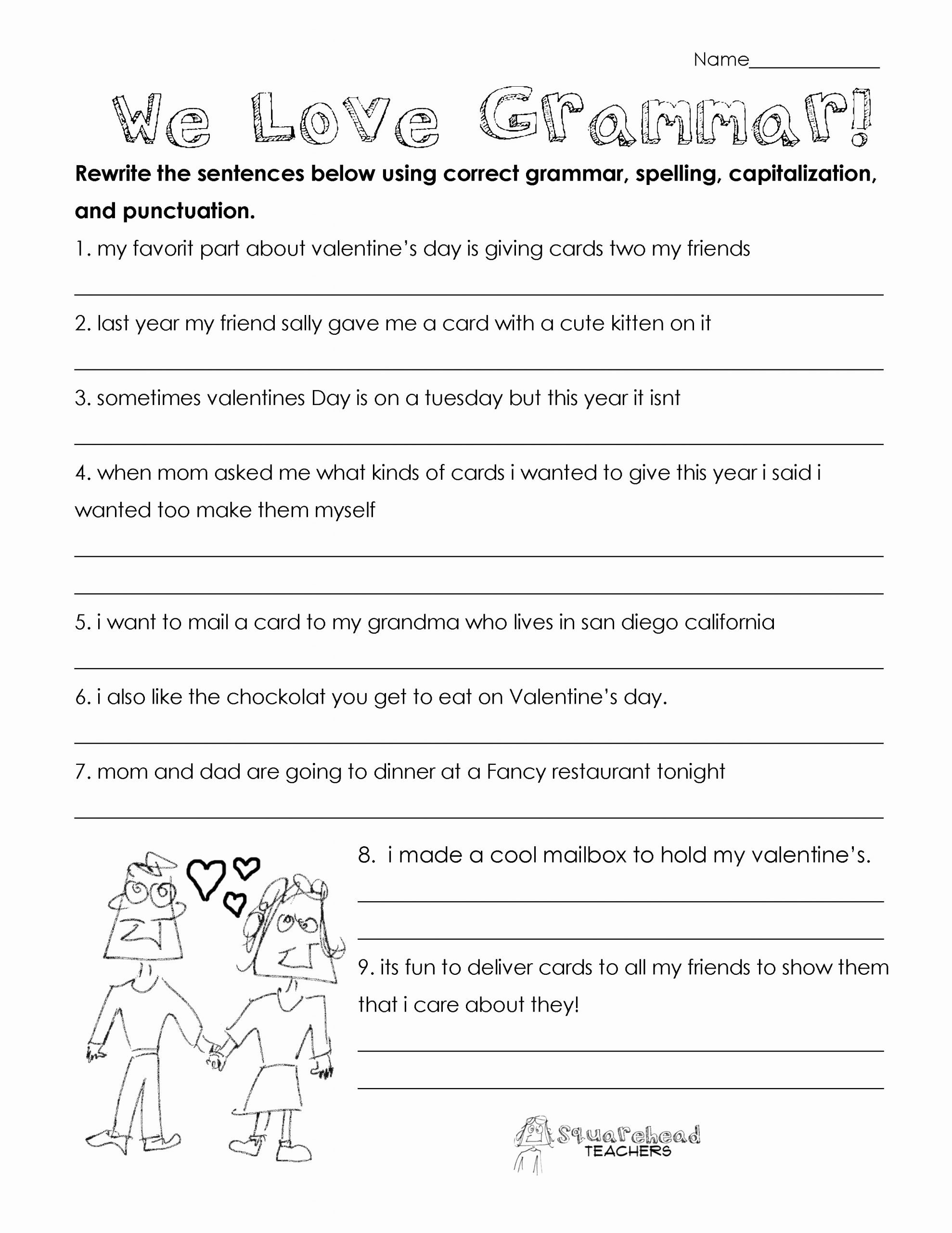 Grammar Worksheets for 8th Graders Best Of Valentine S Day Grammar Free Worksheet for 3rd Grade and Up
