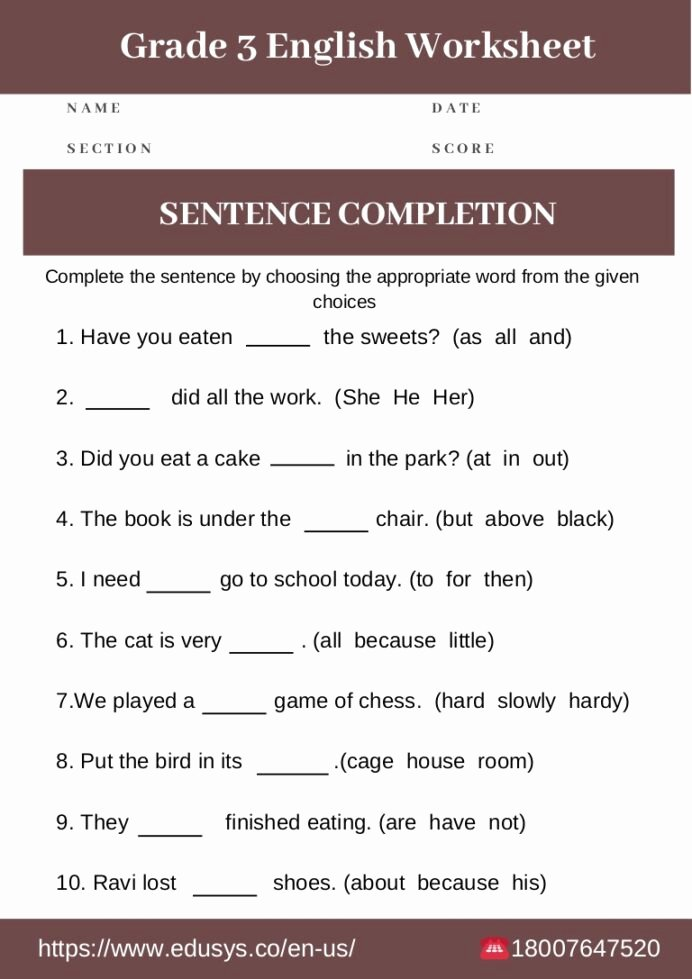 Grammar Worksheets for 8th Graders Free 3rd Grade English Grammar Worksheet Free Pdf for Worksheets