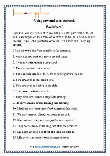 Grammar Worksheets for Grade 5 Best Of Grade 1 Grammar Saw and Seen Printable Worksheets Lets