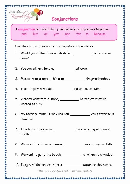 Grammar Worksheets for Grade 6 Inspirational Grade Grammar topic Conjunctions Worksheets with