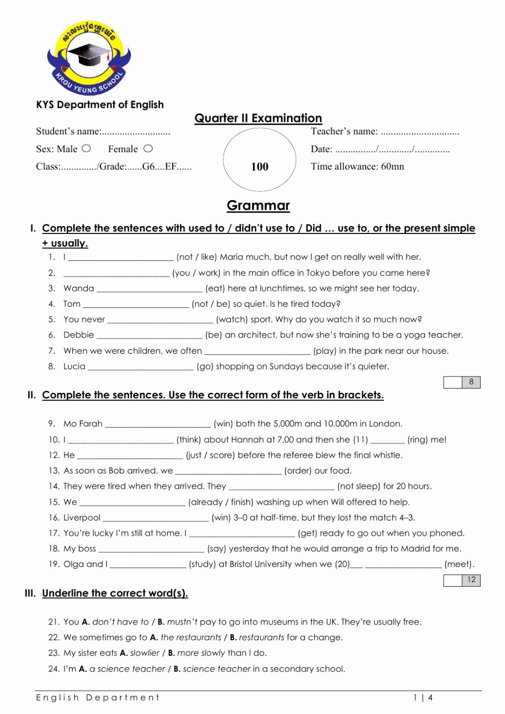 Grammar Worksheets for Grade 6 New Grade 6 English File Grammar Test Interactive Worksheet