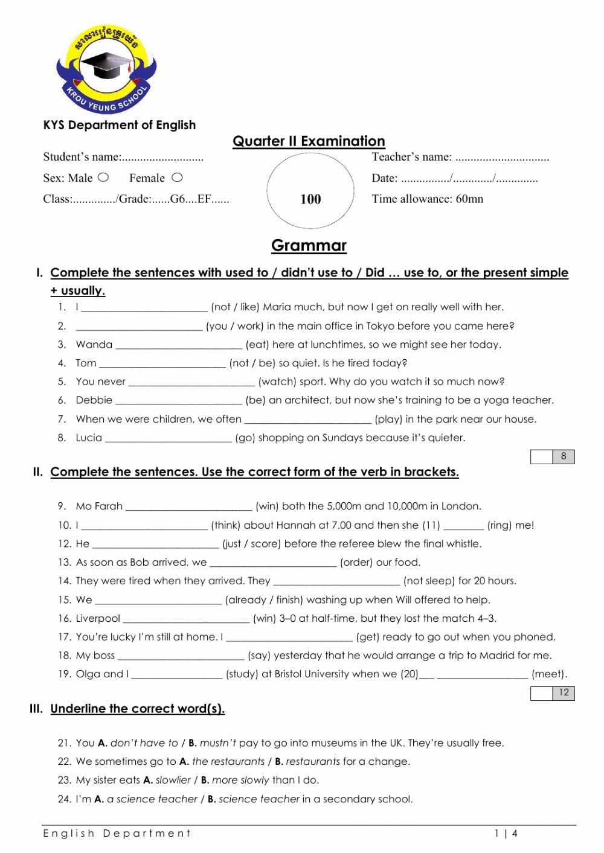Grammar Worksheets for Grade 6 New Grade 6 English File Grammar Test Interactive Worksheet