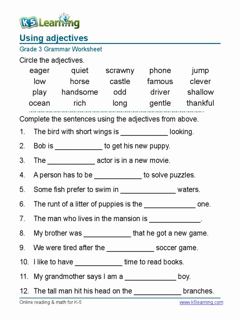 Grammar Worksheets for Grade 6 New Math Worksheet Math Worksheet Grammar Grade Adjectives