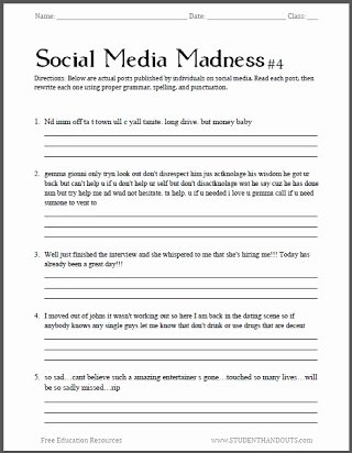 Grammar Worksheets for Middle School Printable Free Printable English Grammar Worksheets for High School