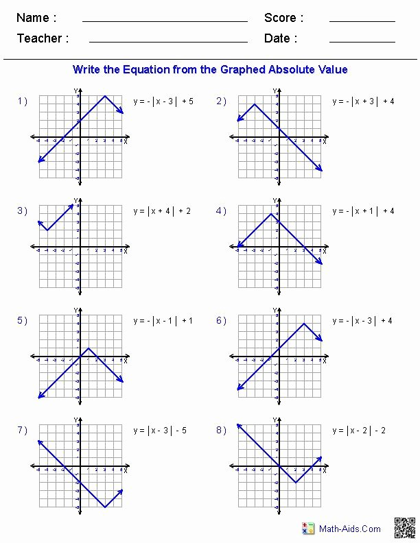 Graphing Absolute Value Functions Worksheet Free Graphing Absolute Value Equations Worksheet Elegant Algebra